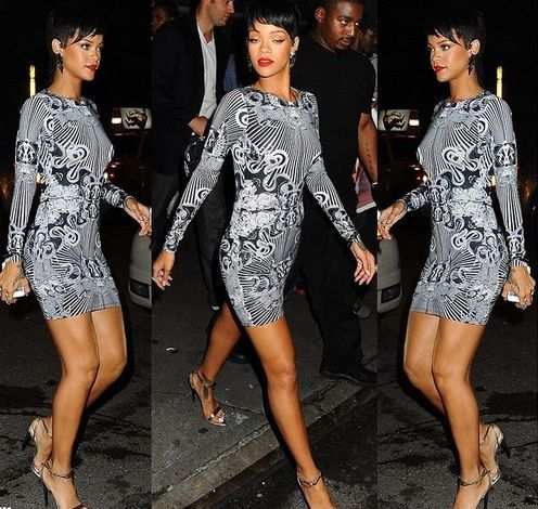RIHANNA CELEBRITY ANIMAL PRINT FITTED BODYCON DRESS SIZE 8-14 | eBay