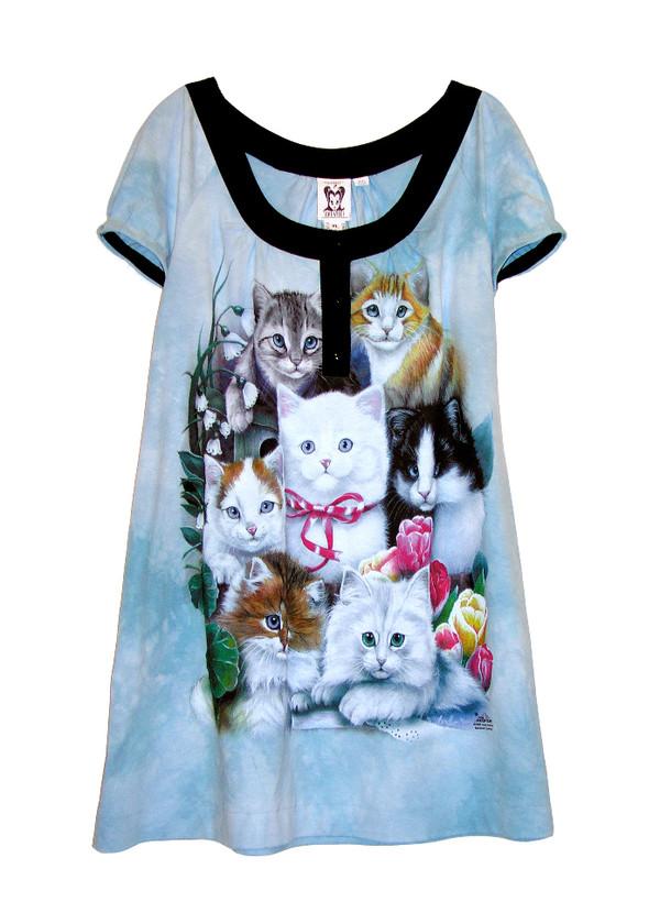 dress kitten print cats tunic print mini dress dress cut mini lovely cute dress cats