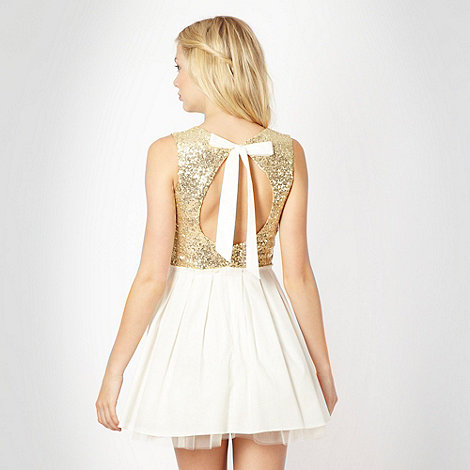 Designer gold sequin body prom dress at debenhams.com