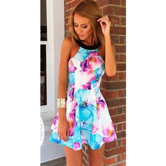 floral floral dress sleeveless dress dress flowers beautiful summer summer dress skater skirt sleeveless short dress
