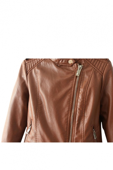 Plain zip detail long sleeve leather jacket with stand collar