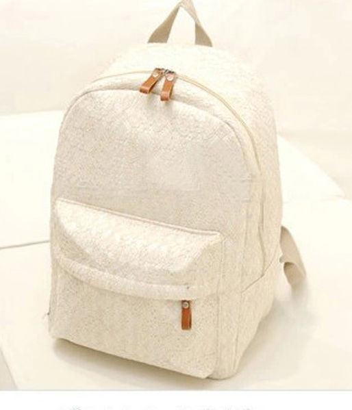 Fashion Girls Cute White Lace Canvas Travel Bag Backpack School