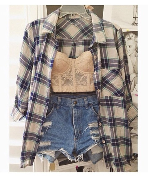 shirt high-wasted denim shorts bustier checked shirt flannel shirt shorts plaid corset top