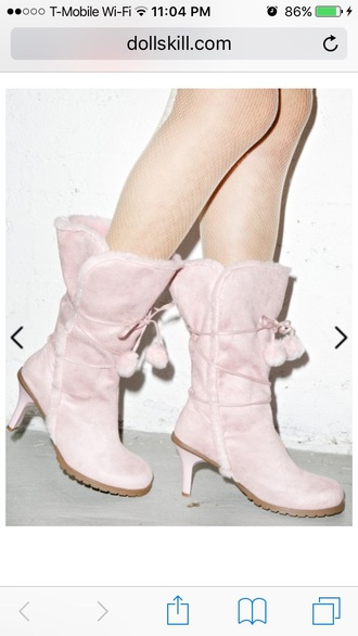 shoes boots faux fur pom poms fur nude