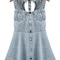 Blue sleeveless bead hollow denim dress - sheinside.com