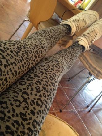 leggings gray leopard print