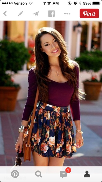floral skirt floral flowy fashion fall outfits cute skirts style