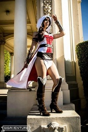 dress,assassin's creed cosplay costumes,red and white,assassin's creed cosplay,hooded,hood,cape