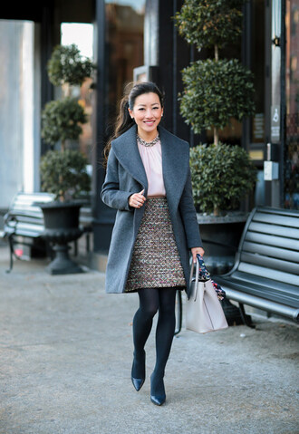 extra petite blogger coat blouse skirt tights bag shoes high heel pumps grey coat fall outfits handbag