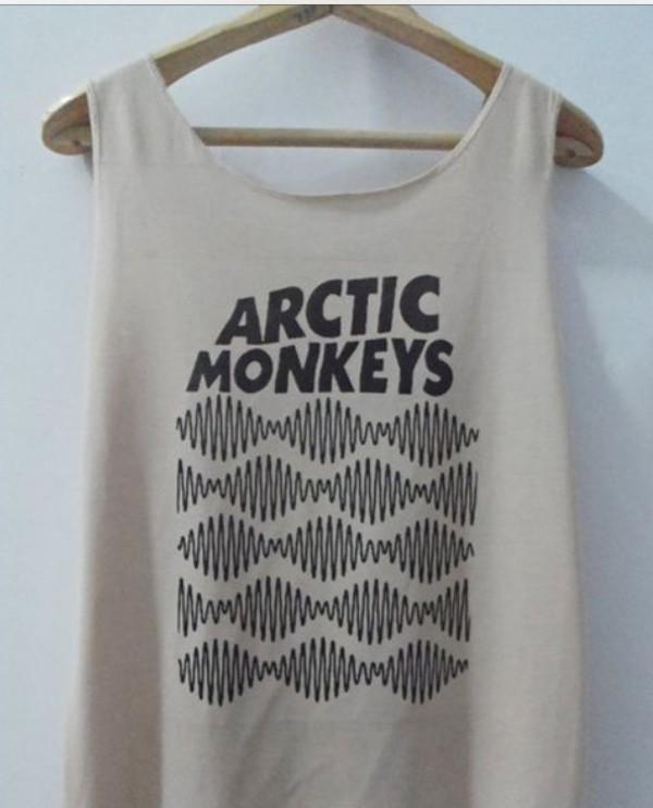 t-shirt arctic monkeys tank top white black punk