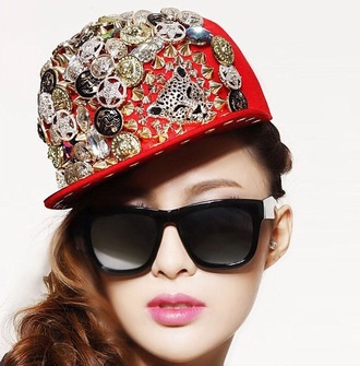 hat snapback hat cap bling pins jewels bejeweled badass streetwear streetstyle style dope urban