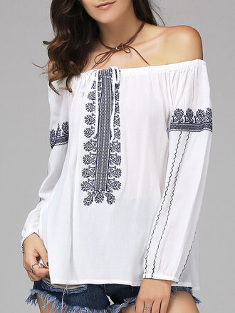 top boho summer spring off the shoulder white long sleeves festival dressfo