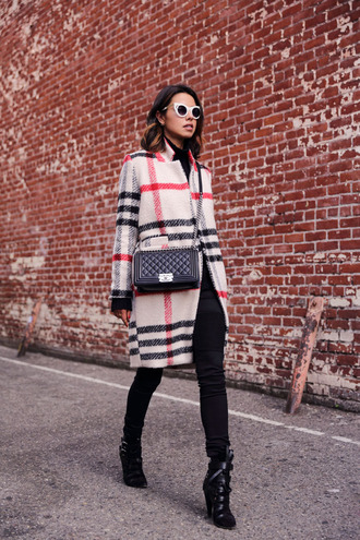 viva luxury blogger tartan winter coat black boots cat eye red lime sunday coat jeans bag shoes sunglasses jewels