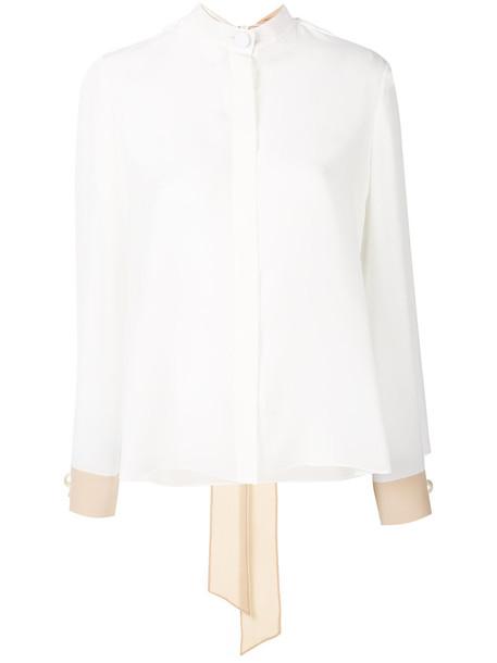 Fendi blouse women plastic white silk top