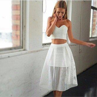 skirt white skirt midi skirt top crop tops