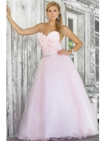 Buy Pretty Tulle Sweetheart Neckline Organza Flowers Ball Gown Prom Dress  under 200-SinoAnt.com