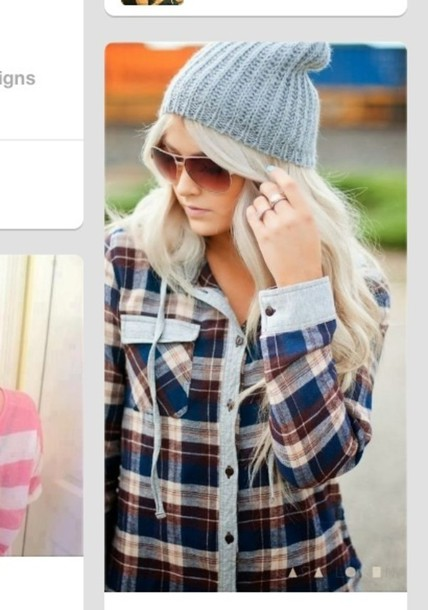 jacket flannel sweater fall outfits winter outfits hat beanie blue
