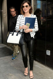 pants,top,leggings,leather,stripes,sandals,lucy hale,phone cover,jewels,bag