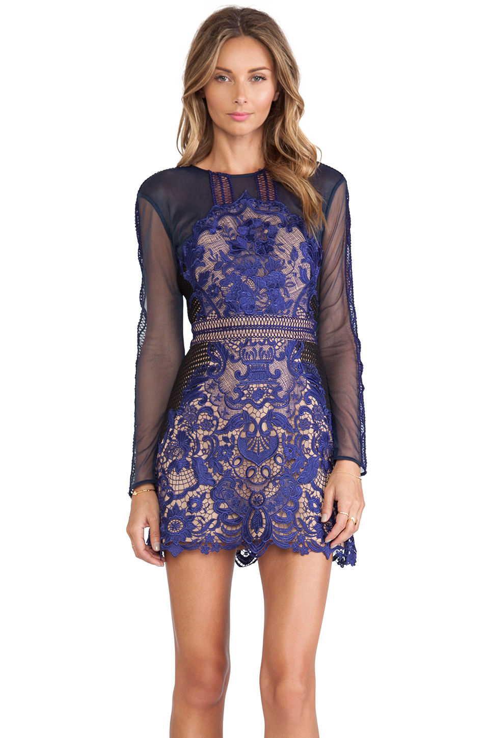 Portrait athanasia dress in blue from revolveclothing.com
