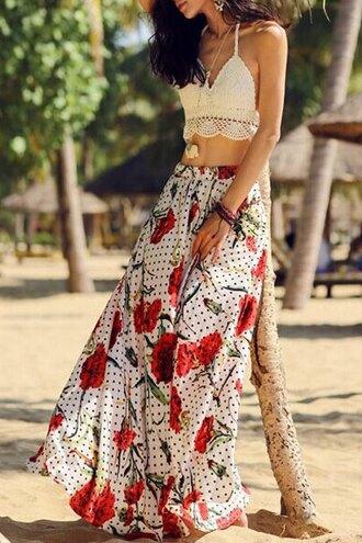 dress floral top white maxi skirt crochet fashion style crop tops beach summer zaful