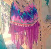 bag,purse,tribal pattern,fringes,fringed bag,purple,pink,blue,beach,summer,shoulder bag