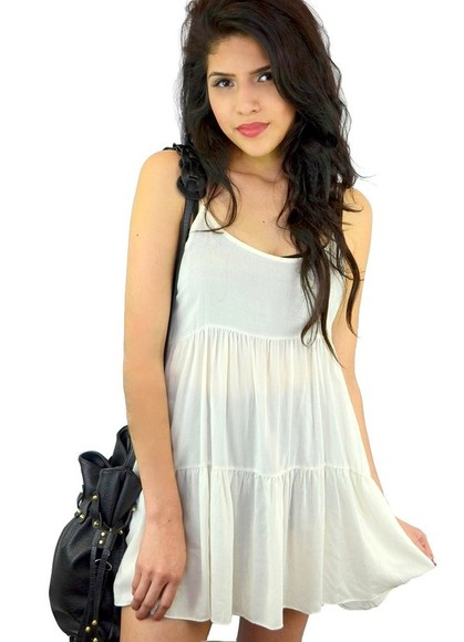 dress short dress white dress beige dress cream dress tiered dress loose dress loose fit dress