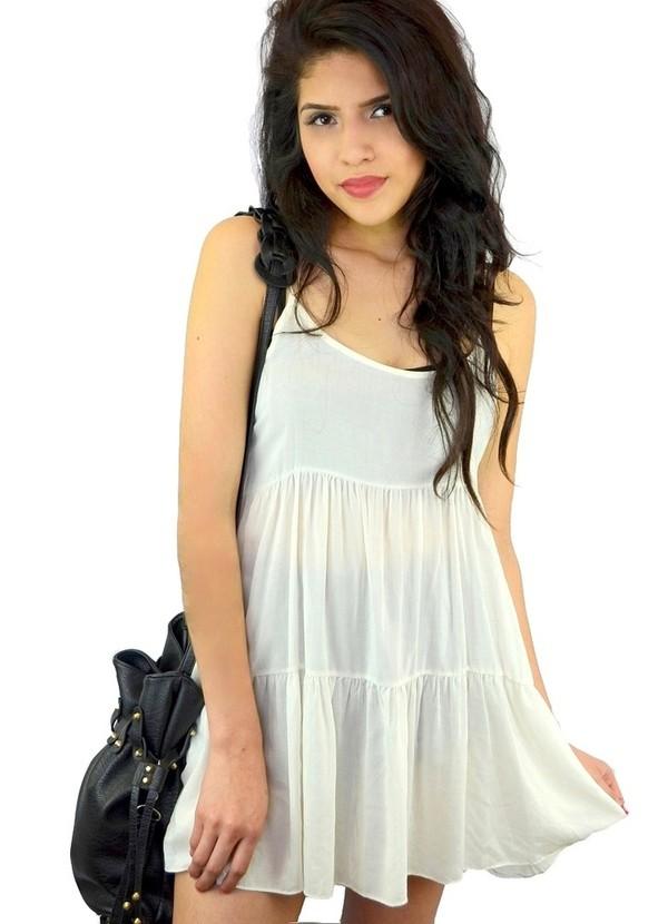 Dress: tiered dress- loose dress- loose fit dress- beige dress ...