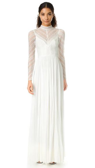 gown high high neck dress