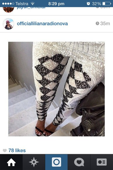 checkers leggings black & white sarkles