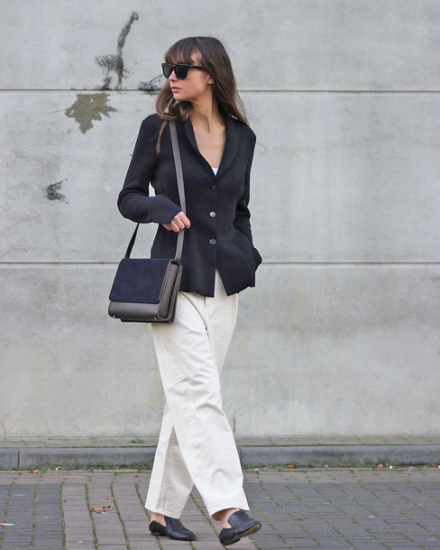 jacket tumblr blazer black blazer pants wide-leg pants white pants sunglasses bag shoes loafers black loafers