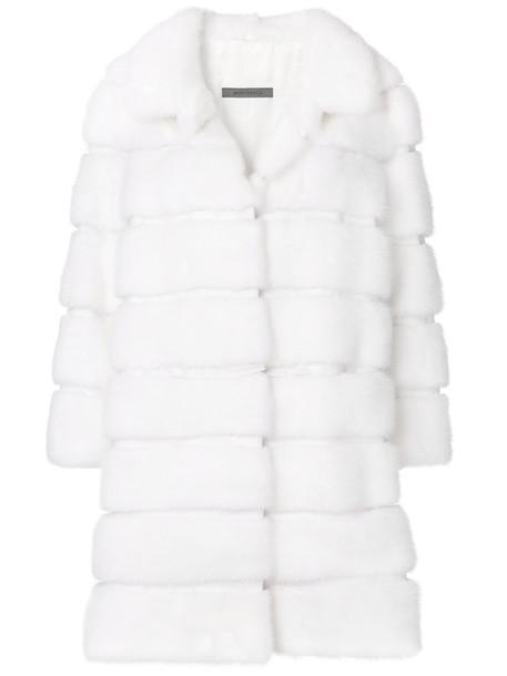 SIMONETTA RAVIZZA coat fur coat fur women white silk