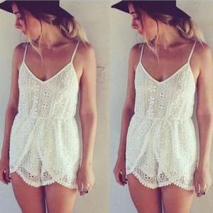Cute lace jumpsuit hot