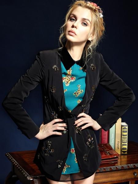 Embellished Velvet Blazer in Longline | Choies