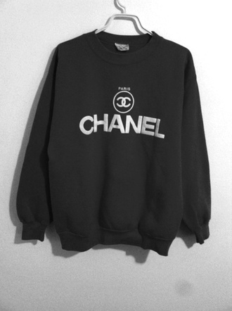 sweater clothes pink chanel sweatshirt chanel top black sweater shirt crewneck wow oversized sweater blouse logo chanel sweater black