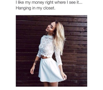 shirt white lace crop tops grunge pretty cute cute top cute outfits style skirt dress