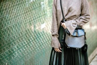 bag tumblr sweater beige sweater bell sleeve sweater bell sleeves grey bag crossbody bag pleated skirt midi skirt green skirt leather skirt