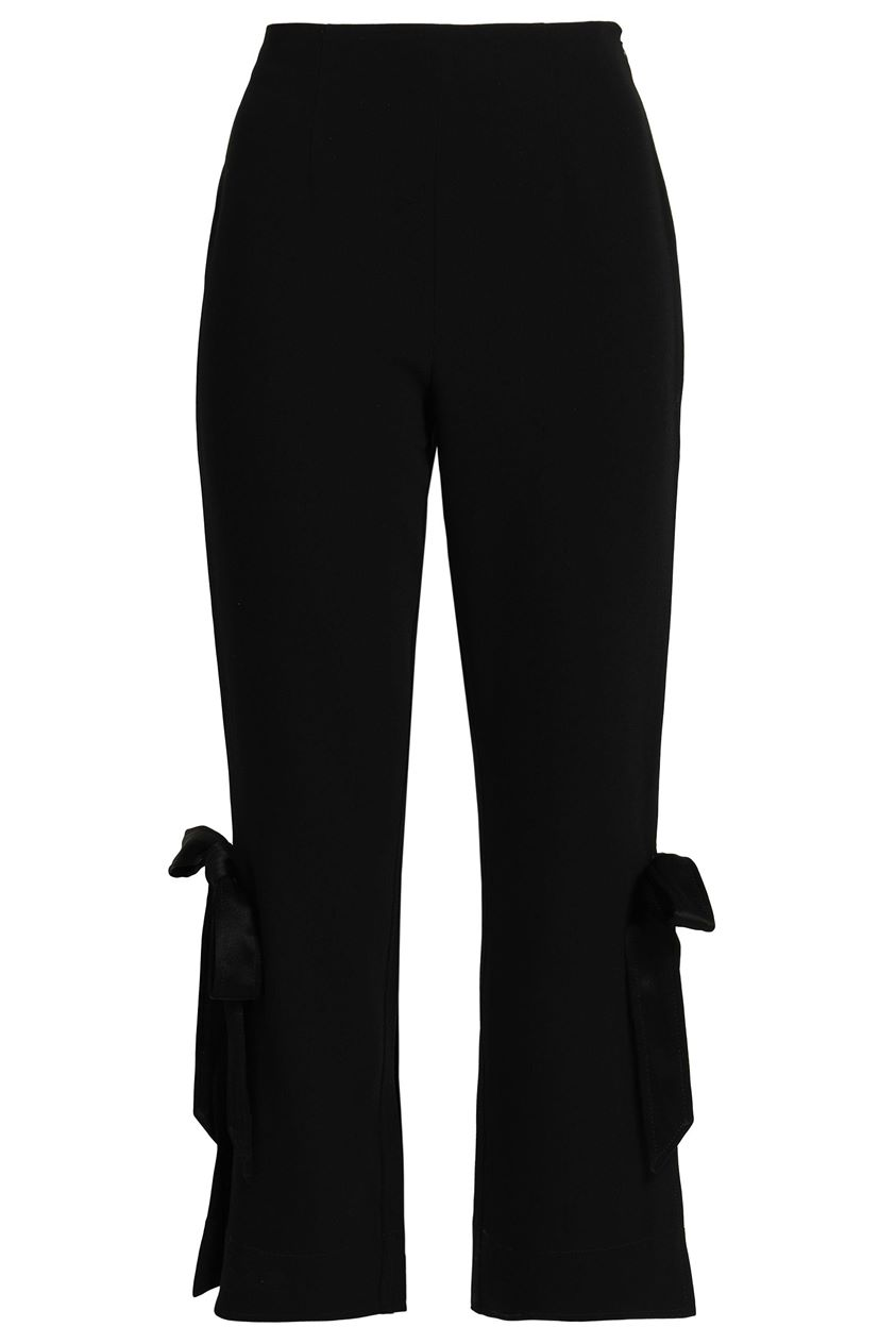 Cinq À Sept Woman Lou Bow-embellished Stretch-crepe Straight-leg Pants Black Size 6