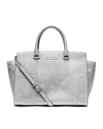 MICHAEL Michael Kors  Large Selma Lizard-Embossed Satchel - Michael Kors