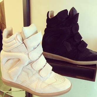 shoes sneakers high wedged sneakers