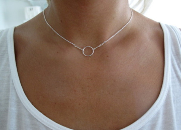 jewels necklace jewelry circle necklace delicate karma necklace minimalist jewelry simple necklace silver necklace