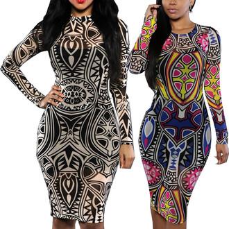 dress sexy women tribal tattoo dress sheer print party dress women evening club dress summer bodycon dress women dress