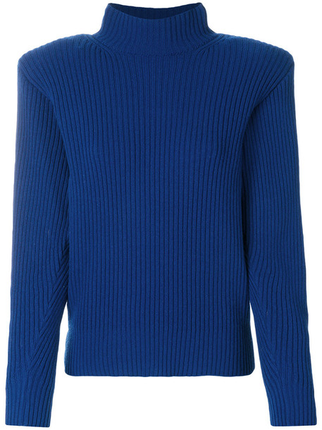 MUGLER jumper women blue wool sweater