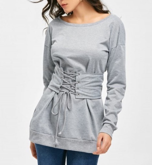 2ea600c093 dress lace up girly grey grey sweater sweater sweater dress lace up corset.