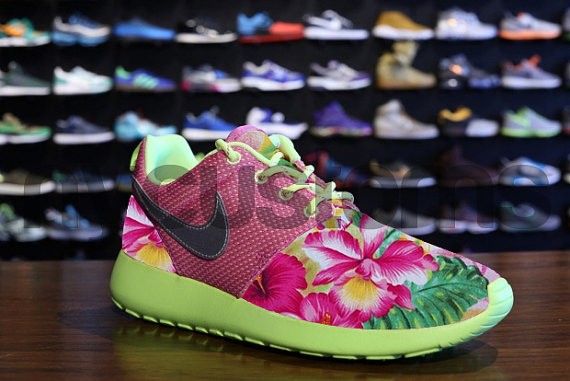 Nike Roshe Run Pink Volt Island Floral Garden Custom by NYCustoms