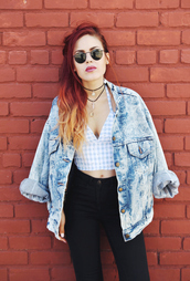le happy,blogger,denim jacket,denim,gingham,high waisted jeans,halter crop top,oversized jacket,soft grunge,crop tops,spring outfits