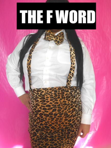 skirt leard nerd suspenders curvy leopard print
