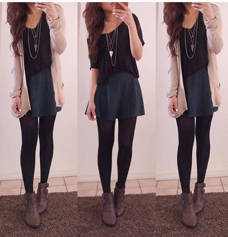 cardigan modern tights necklace simole hair boots fall outfits
