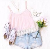 shirt,tank top,top,soft pink,pink,summer,shorts,High waisted shorts,pink shirt,pastel,pastel pink,light pink,pink light,halter top,lace top,lace bralette,bralette,pink top,floral tank top,pink tank top,converse,white converse,denim shorts,denim,ripped light wash,flowers,floral,knitwear,knitted crop top,knitted top,high top converse,straps