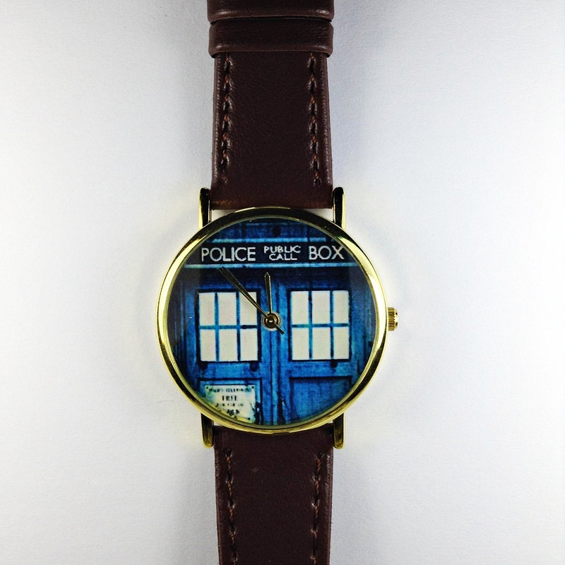 Doctor Who Watch, Tardis, Vintage Style Leather Watch, Mens Watch, Women Watches, Boyfriend Watch, Phone booth, Brown