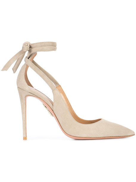 Aquazzura women pumps leather nude suede shoes